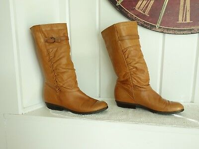 VTG  90s SANTANA Brown Leather Slouchy Pirate Boots Buckle Knit Lined 8 8.5 M