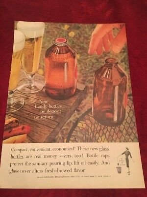 1961 glass beer bottles vintage print Ad