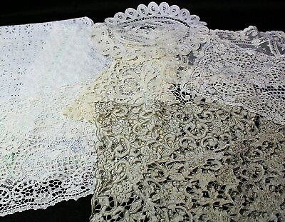 Lot Of Antique Vintage Lace, Doilies And Table Runners, Linen, Very Old!
