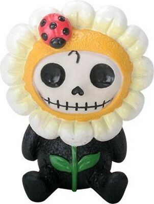 FurryBones Daisy Figurine Ornament Flower Ladybug Cute Cool Gothic Skull Yellow