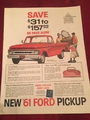 1961 Ford pick up truck vintage print Ad