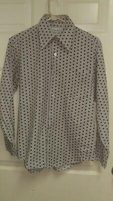 "True Vintage 70s Mens ""MARLBORO""  MOD Disco, Diamond Pattern Shirt.Sz.Med."
