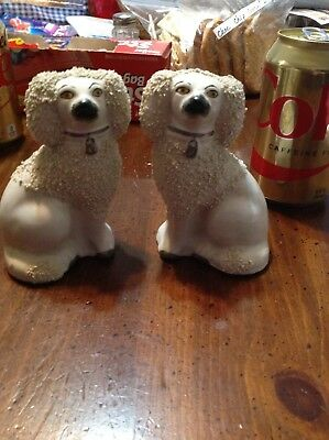 Vintage Pair Smaller Size Staffordshire Dogs / Poodle Dogs / England / Sweet!!!!