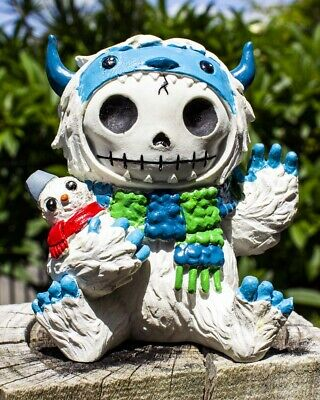FurryBones Yeti Large Figurine Ornament Abominable Snowman Gothic Skull Cute Fun