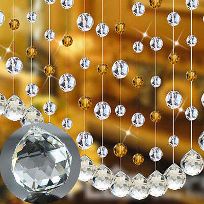 1X Crystal Ball Sphere Prism Pendant Faceted Lamp Light Ceiling Chandelier Decor