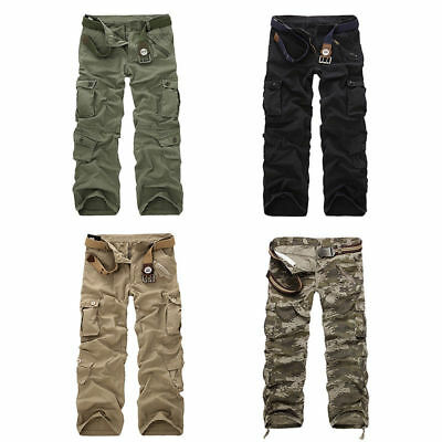 Herren Airborne Cargo Pants Army Frachtschlauch Jeans Hose Camouflage Streetwear
