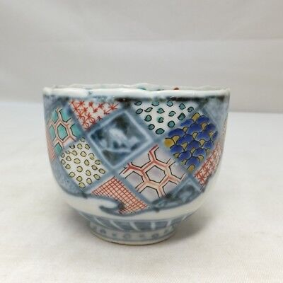 E020: Japanese OLD IMARI porcelain pair of cup SOBA-CHOKO with good painting