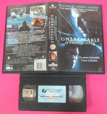 VHS film UNBREAKABLE IL PREDESTINATO 2001 Bruce Willis TOUCHSTONE (F180) no dvd