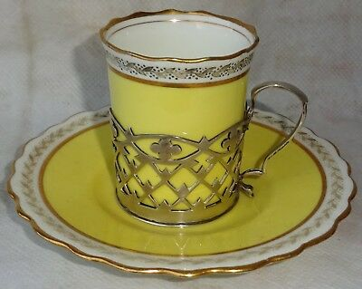 Vintage Aynsley Coffee Cup In Solid Silver Holder , C 1922