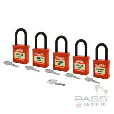 Lockout Tagout Insulated Padlock - NYLON Shackle - Key Different + Master (Red)
