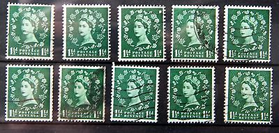 GB Inverted watermarks TEN stamps ref  3865.1