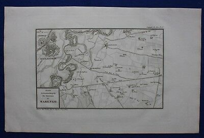 Original antique map, MARENGO, ITALY, ITALIA, Napoleonic Wars, Tardieu, c.1820