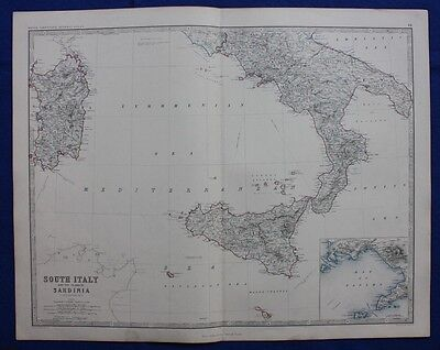 Original antique Victorian map SICILY, ITALY, SARDINIA, W & A.K. Johnston, 1868