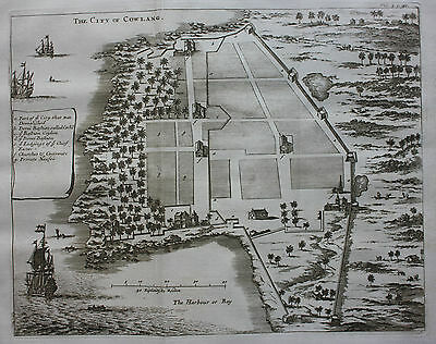 Original antique map, plan INDIA COWLANG COYLANG KOLLAM Baldaeus, Churchill 1744