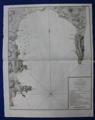 Original antique map, SPAIN, GIBRALTAR, ALGECIRAS, NAVAL BATTLE, Tardieu, c.1820