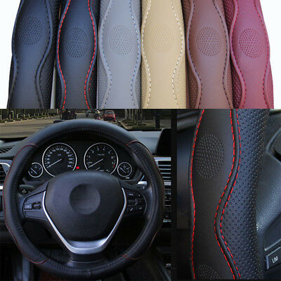 38cm Universal Car Steering Wheel Cover PU leather No fade Black&Red Skid-proof