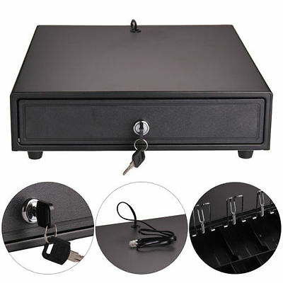 Heavy Duty POS Cash Register Drawer 4 Bills and 5 Coins Removable Cash Tray box