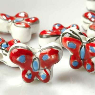 10pcs Porcelain Animal Bead Pendants Fit Necklace Butterfly IWPB0063