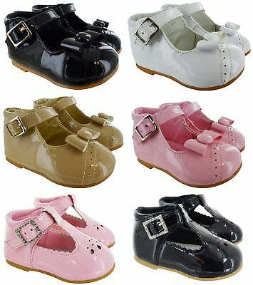 Girls Baby Toddler T Bar Diamate Patent Wedding Party Buckle Spanish Shoes Size