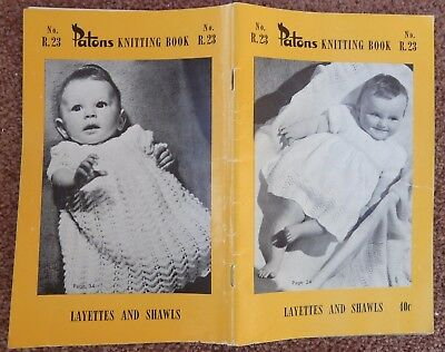 Vintage Patons baby knitting pattern book no. R. 23 layettes and shawls