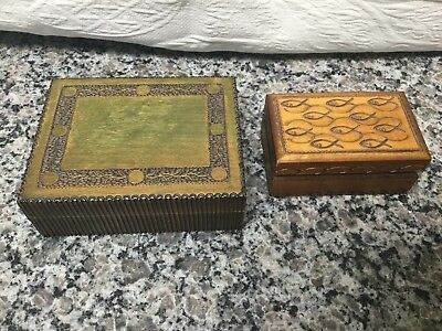 2 wooden carved boxes jewelry Made In Holland (1)