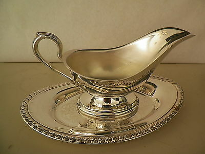 Mint Unused Silverplated Gravy Dish & Tray