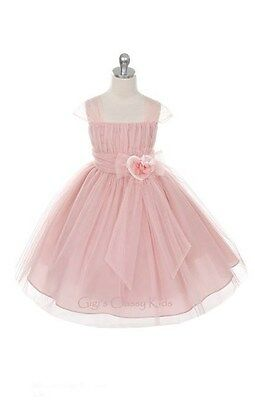 New Flower Girls Fancy Dusty Rose Mauve Dress Easter Party Christmas Pageant 293