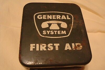 Vintage General Telephone System First Aid Metal Box with Contents