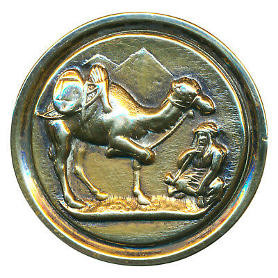 Button--Large Late 19th C. Bright Brass Eqyptian Nomad with Hobbled Camel