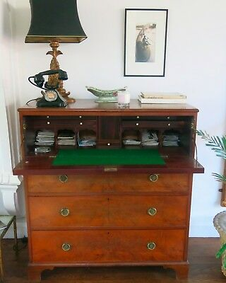 Beautiful Vintage 1700's Oak Brass Bone Georgian Bureau / Chest Of Drawers