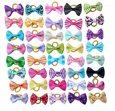 20Pcs Mixed Hair Bows Rubber Bands For Pet Dog Grooming Bowknot Hair Accessory
