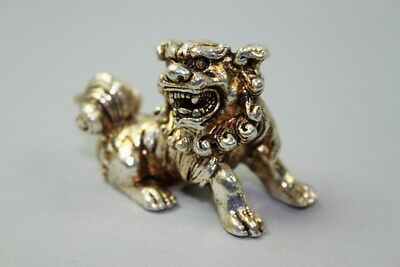 Chinese Collectable Handwork Miao Silver Carved Lion Auspicious Statue