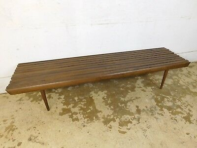 """Vintage Nelson Style 72"""" Long Mid Century Modern Slat Bench Wood Coffee Table"""