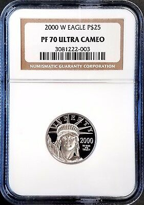 2000 W 1/4 Oz, $25.00 Proof Platinum Eagle certified PF 70 Ultra Cameo by NGC!