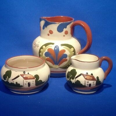Vintage ROYAL WATCOMBE DEVON MOTTO WARE - SUGAR BOWL & CREAMER + ALLER VALE JUG
