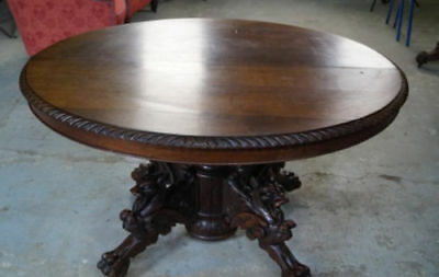 Black forest hand carved oak table,17 century