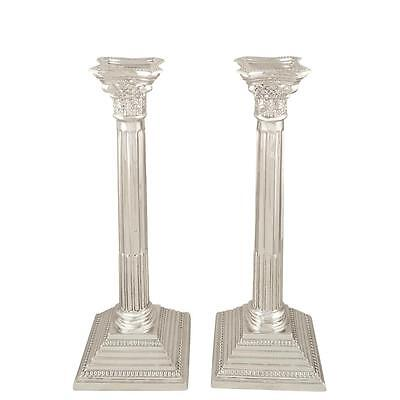 "Pair Of Antique Sterling Silver 11"" Corinthian Column Candlesticks - 1929"