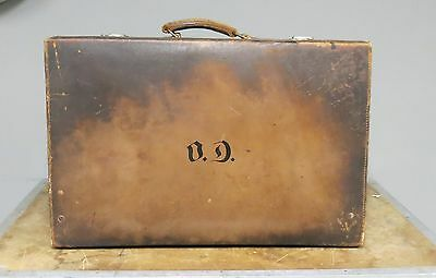 Antique English Leather Traveling Dressing Case Suitcase Sterling
