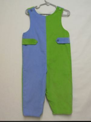 NWOT GLORIMONT Baby Boys 24Mos Blue/Green Colorblock Corduroy Romper Was $52