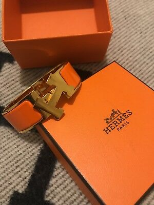 Hermes H Clic Clac orange bracelet GM jewelry~Authentic