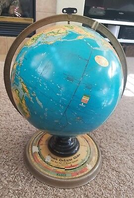 1936 Cram's Terrestrial DeLuxe Globe, Rotating Daily Sun Its ROUGH Read