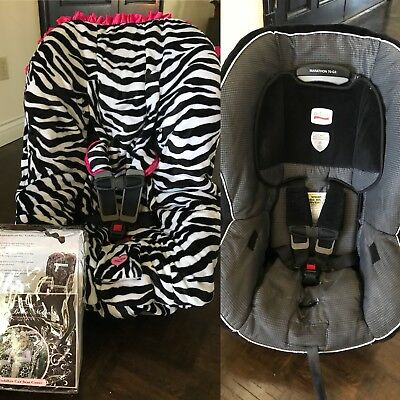 Baby Bella Maya TODDLER Car Seat Cover Universal -Cute ZEBRA with Pink Accents