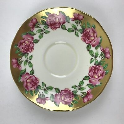Salisbury Bone China (Made in England) - Saucer Small Plate - Gold & Roses