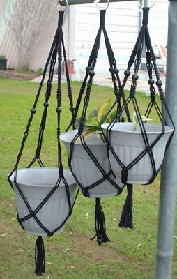 "MACRAME PLANT HANGER Beaded TRIO 4mm, BLACK 3 sizes- 24"", 30"", 36"" Black Beads"