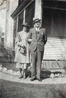 Vintage Photo 1930s Man and Woman Posing in Front of Their Home
