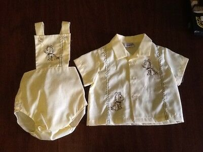 Vintage TODDLE TYKE Yellow 2 Piece Outfit Boy Girl Embroidered Outfit