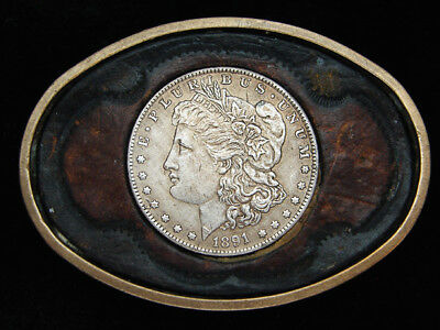 QA13172 VINTAGE 1970s **1891 MORGAN DOLLAR COIN** LEATHER SOLID BRASS BUCKLE