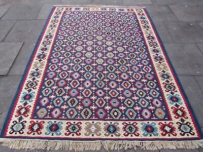Fine Antique Hand Made Traditional Turkish Blue Wool Large Kilim 236x174cm