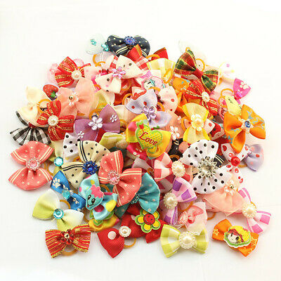 Assorted Hair Bows W/Rubber Bands For Small Dog Cat Pet Grooming Hair Accessory
