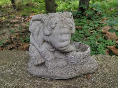 """Vintage Cement 4"""" Tall Elephant Drinking Garden Art Statue Weathered Concrete"""